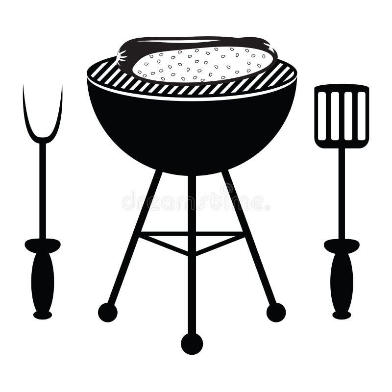 Rôti de hot-dog sur le gril de barbecue illustration de vecteur