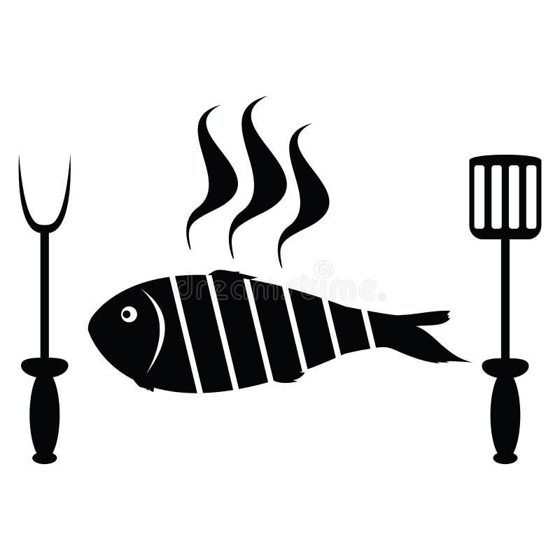 Rôti de poissons sur le gril de barbecue illustration stock