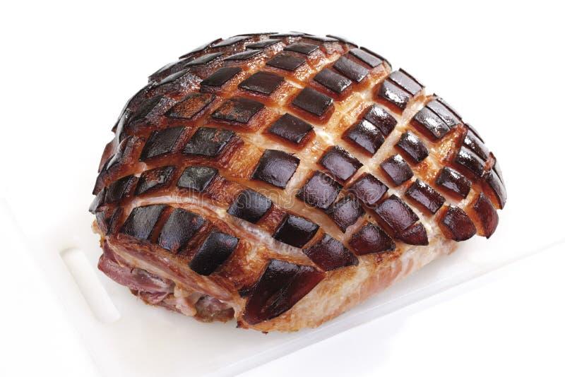 Rôti de porc coupé en tranches avec le crépitement photos libres de droits