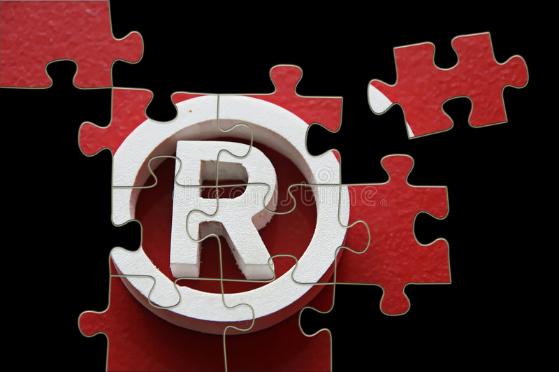 R trademark - puzzle incomplete vector illustration