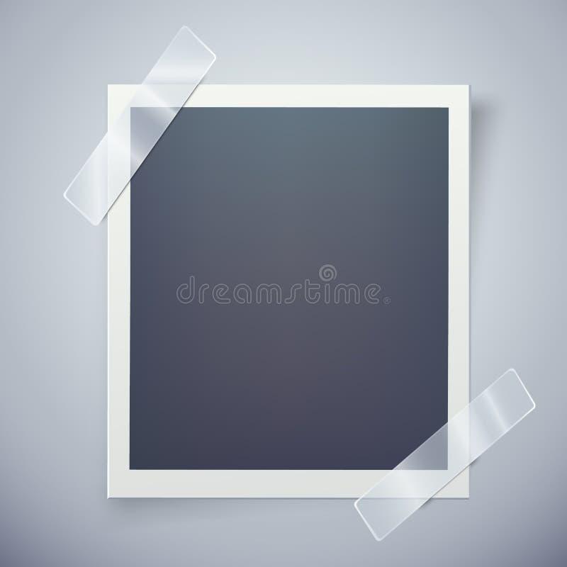R?tro cadre de photo attach? avec le ruban adh?sif Concept doux de souvenirs illustration stock