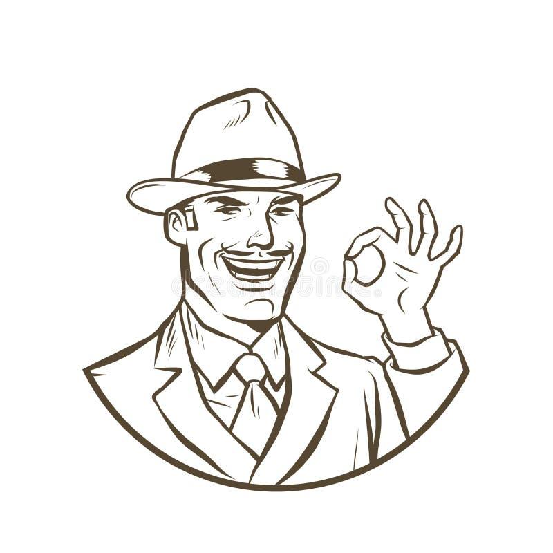 R?tro geste d'OK d'homme d'affaires illustration de vecteur