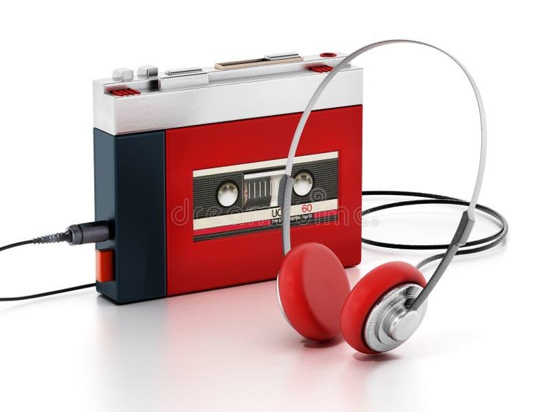 R?tro lecteur de cassettes portatif d'isolement sur le fond blanc illustration 3D illustration libre de droits