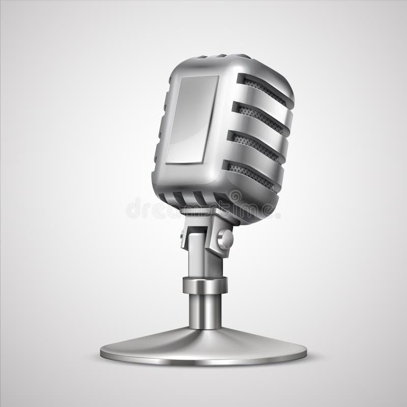 R?tro microphone r?aliste métal MIC du cru 3D sur le support, équipement record classique d'isolement sur le blanc Studio de vect illustration de vecteur