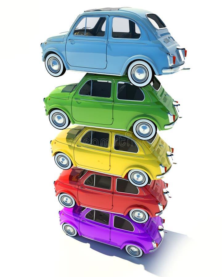 R?tro pile color?e de voiture compacte illustration de vecteur