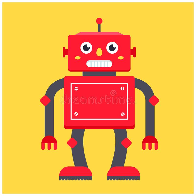 R?tro robot rouge sur un fond jaune Illustration illustration libre de droits