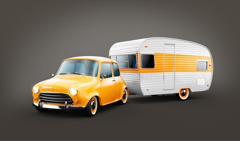 R?tro voiture avec la remorque blanche Illustration 3d peu commune d'une caravane classique Concept campant et de d?placement illustration de vecteur