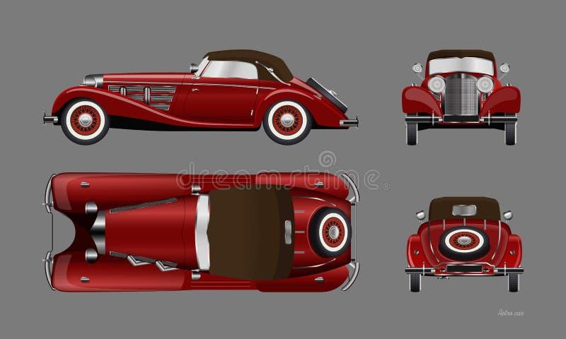 R?tro voiture rouge sur le fond gris Cabriolet de cru dans le style réaliste Avant, c?t?, dessus et vue arri?re illustration de vecteur