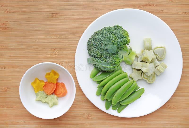 R?tt av gr?nsaker behandla som ett barn matbroccoli, och den s?ta ?rtan i den vita plattan med mosat djupfryst behandla som ett b fotografering för bildbyråer