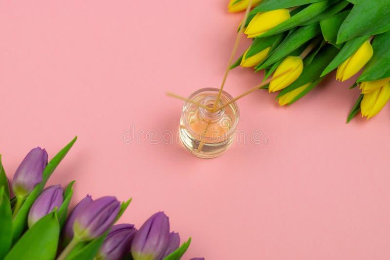 R?ucherst?bchen und Tulpen auf rosa Hintergrund lizenzfreie stockbilder
