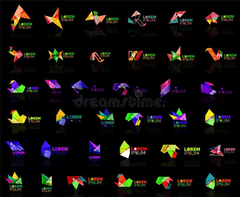 R up strzałkowatego origami loga projekta szablonu abstrakcjonistycznego wektorowego papieru ikony biznesowej firmy symbolu kreat ilustracja wektor