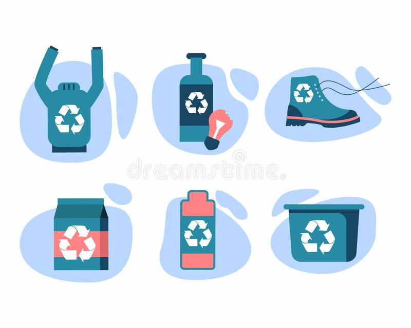 r?utilisation Verre, papier, vêtements, chaussures, batteries, plastique photographie stock libre de droits