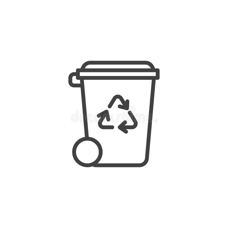 R?utilisez la ligne ic?ne de poubelle illustration stock