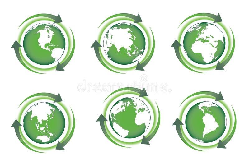 R?utilisez les fl?ches et la terre verte Illustration de vecteur illustration stock