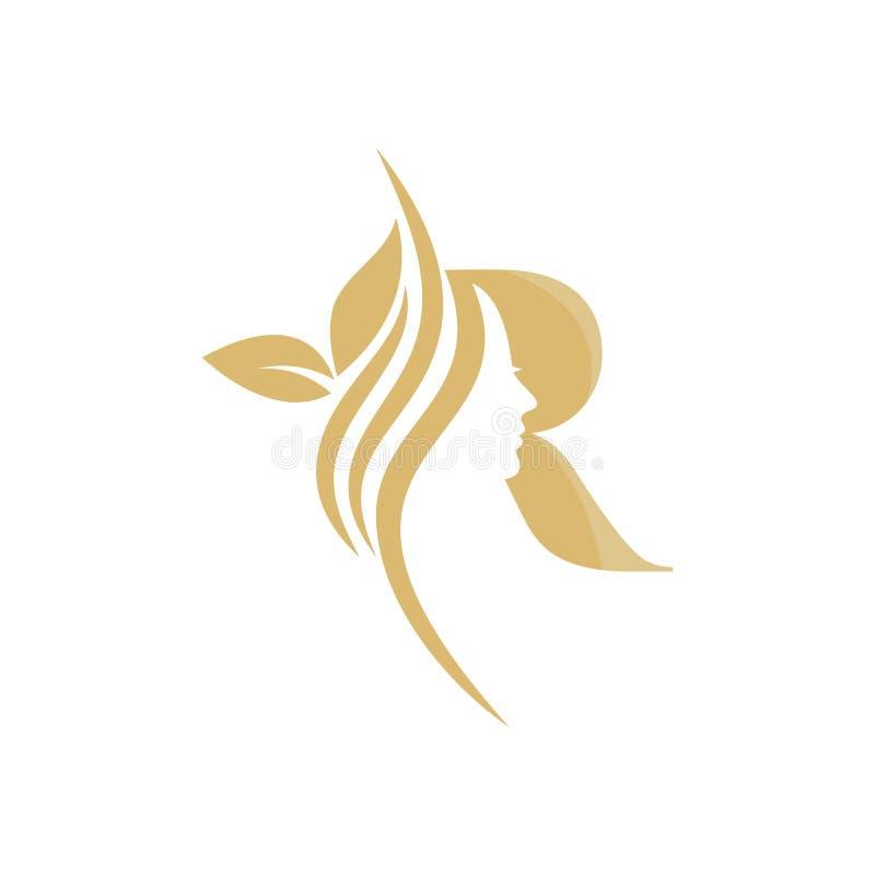 R Vector abstract logo, merkmodel in trendy lineaire minimale stijl, embleem voor schoonheidsstudio en cosmetica - vrouwelijk stock illustratie