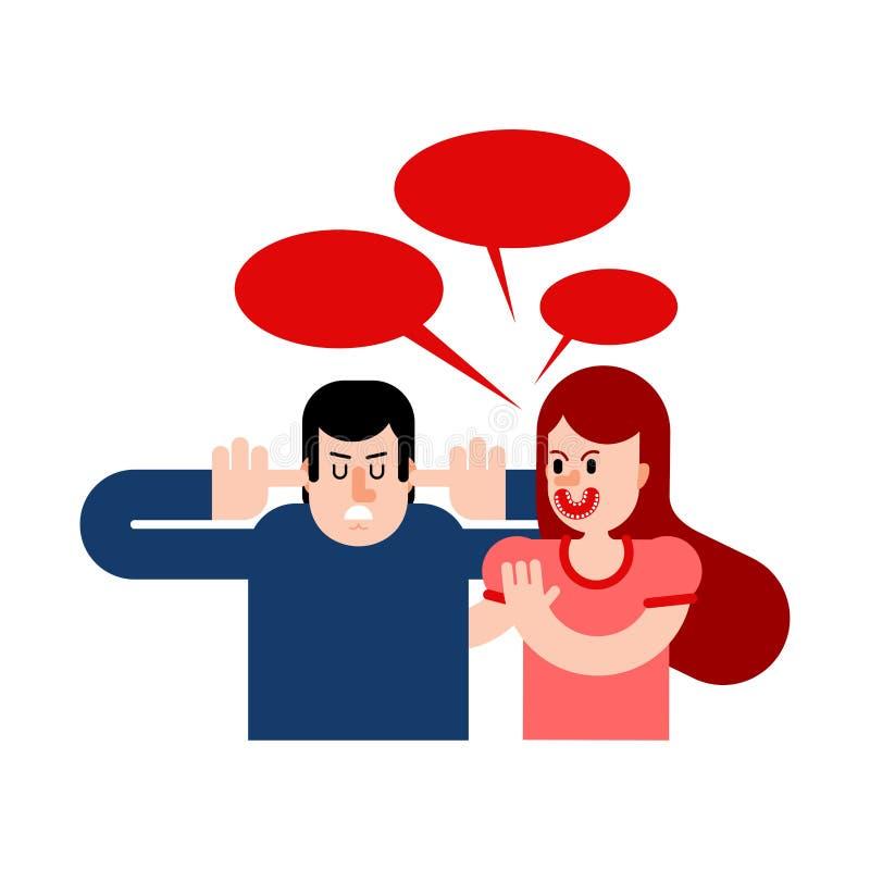 r Vrouw die bij de mens gilt De mens behandelde zijn oren en sloot zijn ogen De kerel spreekt niet beledigd vector illustratie