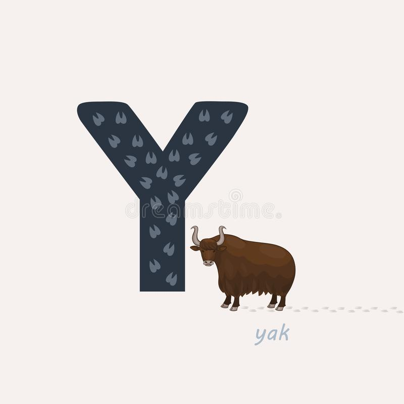 r?wnie? zwr?ci? corel ilustracji wektora Błękit listowy Y z yak odciskami stopymi, kreskówki yak abecad?a zwierz?cy t?a wizerunk? ilustracji