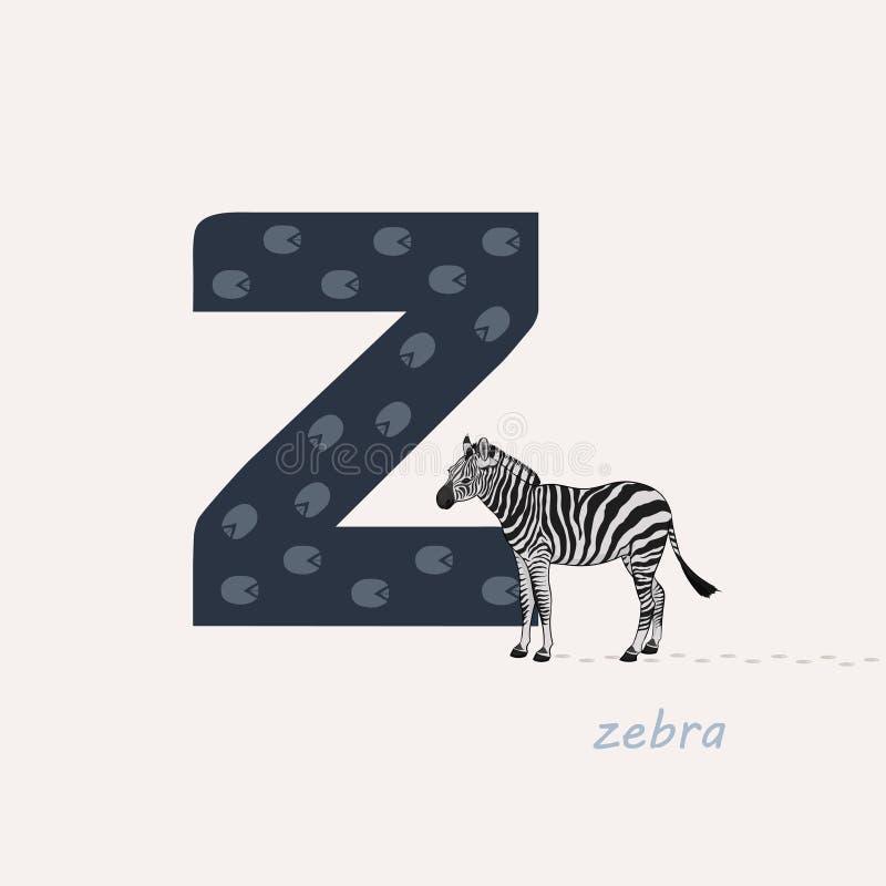 r?wnie? zwr?ci? corel ilustracji wektora Błękit listowy Z z zebra odciskami stopymi, kreskówki zebra abecad?a zwierz?cy t?a wizer ilustracja wektor