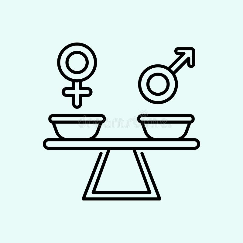 r?wno??, rodzaj, szyldowa ikona Element feminizm dla mobilnego poj?cia i sieci apps ikony Kontur, cienka kreskowa ikona dla stron ilustracji
