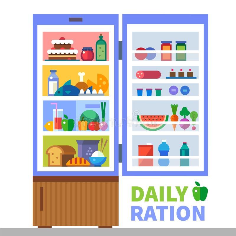 Ração diária Proteínas, gorduras, hidratos de carbono ilustração royalty free