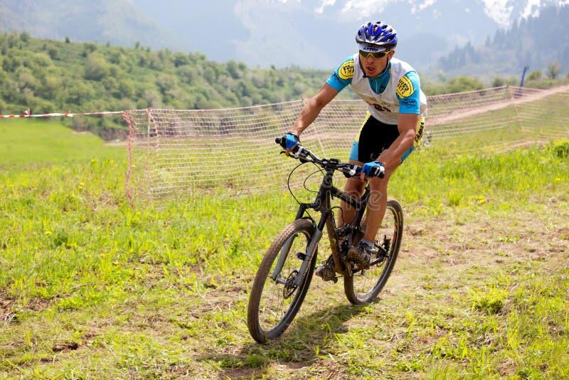 Raça através dos campos de bicicleta de montanha foto de stock royalty free