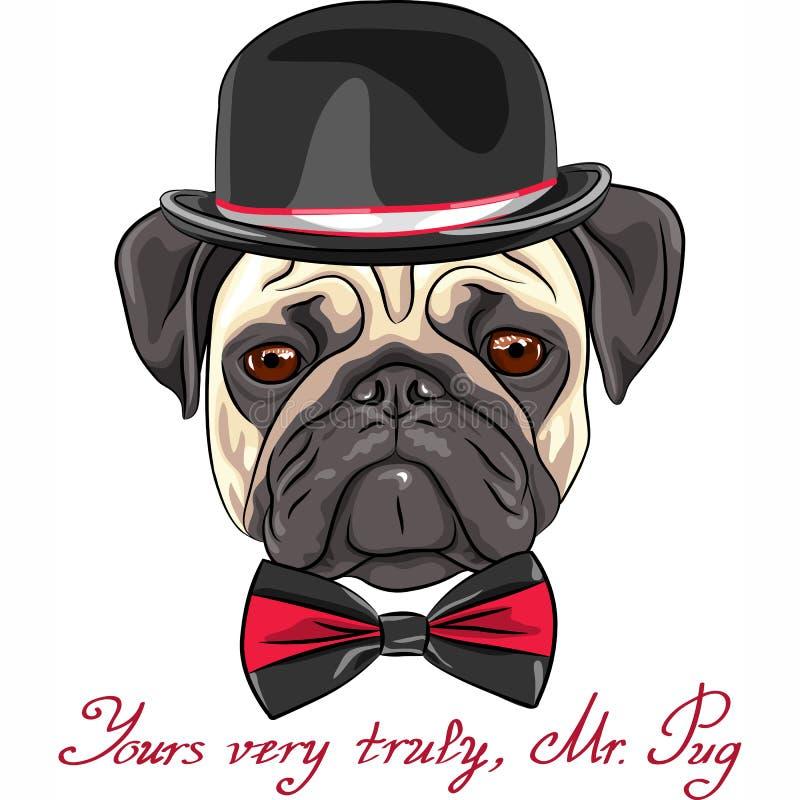 Raça bonito do pug do cão do esboço do vetor ilustração do vetor
