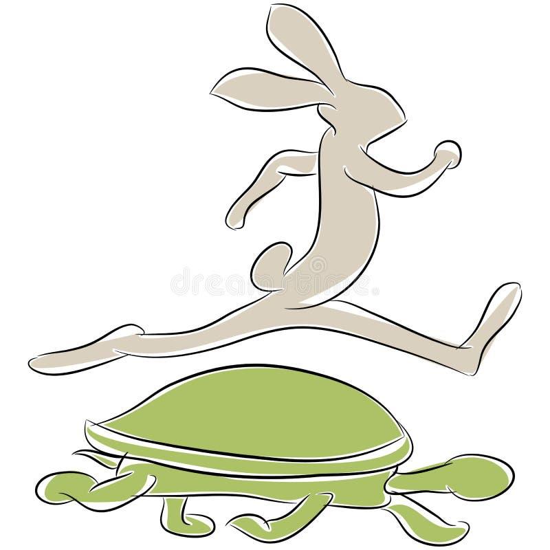 Raça da tartaruga e da lebre ilustração royalty free