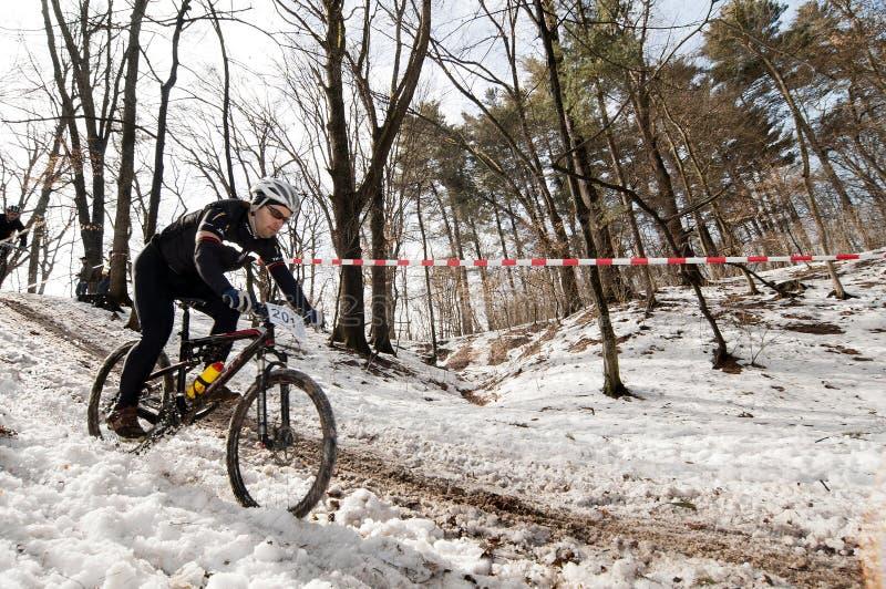 Raça de bicicleta do inverno imagem de stock royalty free