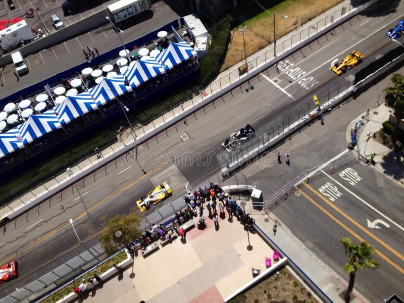 Raça de carro em Long Beach do centro imagens de stock royalty free