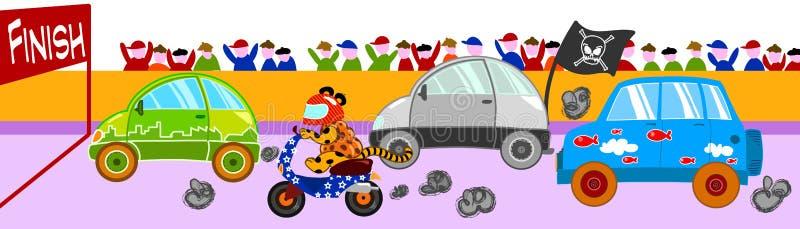 Raça de carro engraçada ilustração stock