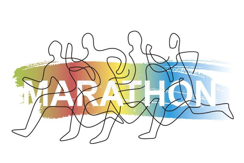 Raça de corrida, competição, linha arte estilizado ilustração do vetor
