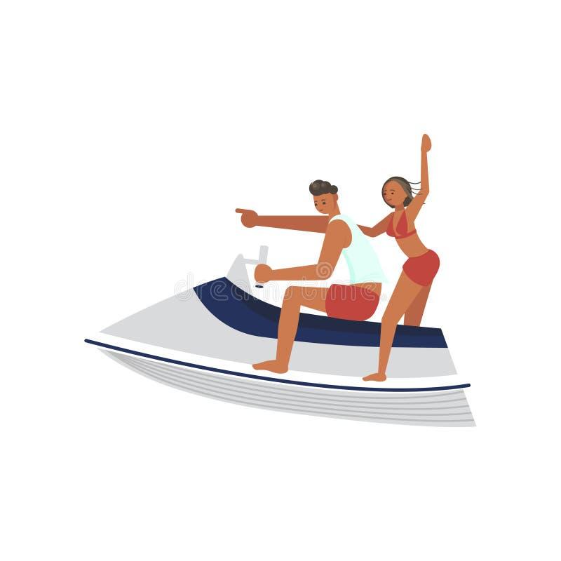 Ra?a do homem novo e da mulher no aquabike ilustração do vetor