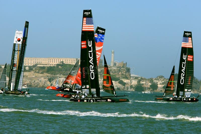 Raça do Sailboat do copo de 2012 Americas em San Francisco fotografia de stock royalty free