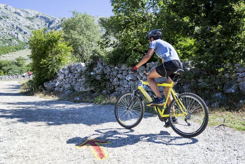 Raça em declive do Mountain bike em uma estrada de país de origem imagem de stock royalty free