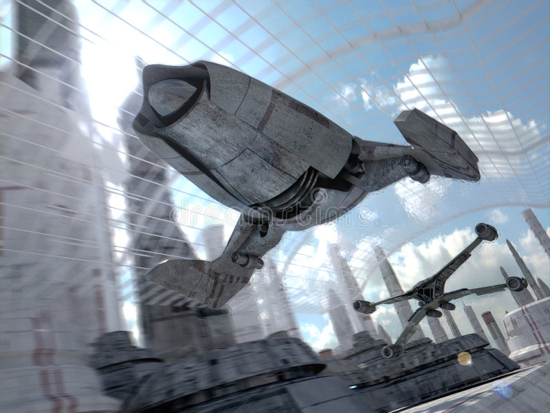 Raça futurista da velocidade da ficção científica ilustração royalty free