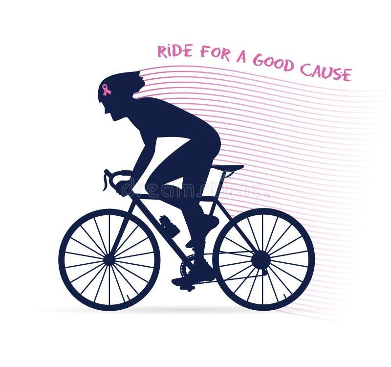 Raça ou competição de ciclismo da conscientização do câncer passeio para uma boas causa e caridade ilustração royalty free