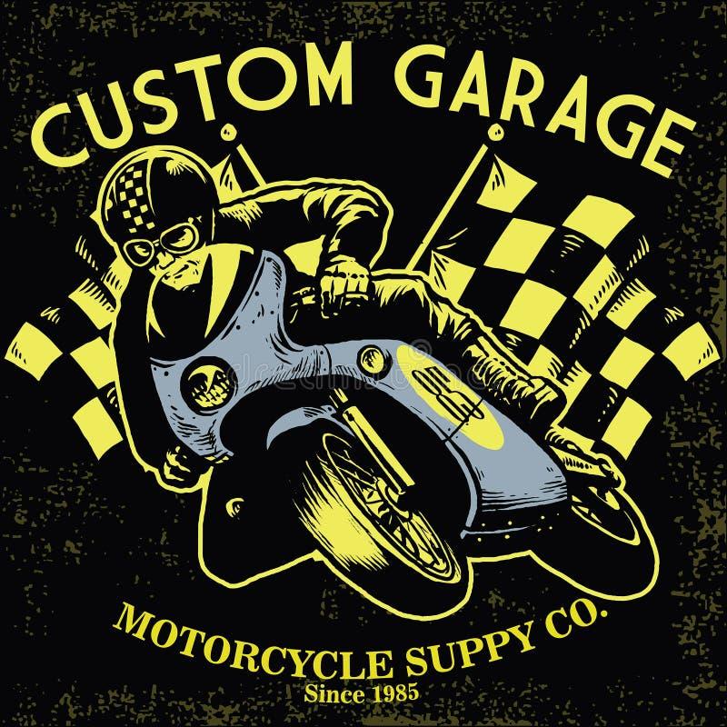 Raça retro da motocicleta ilustração do vetor