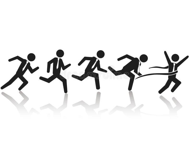 Raça running do homem de negócios ilustração stock