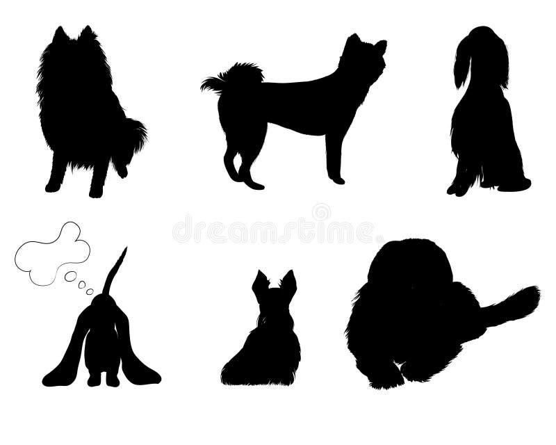 Raças ajustadas silhuetas do cão ilustração royalty free