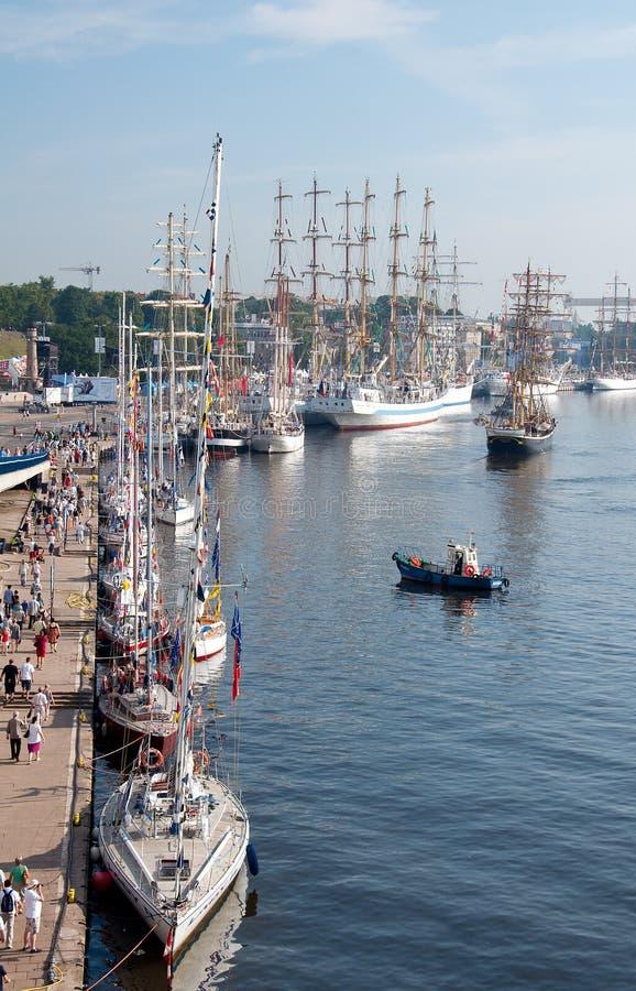 Raças altas do navio, Szczecin imagens de stock