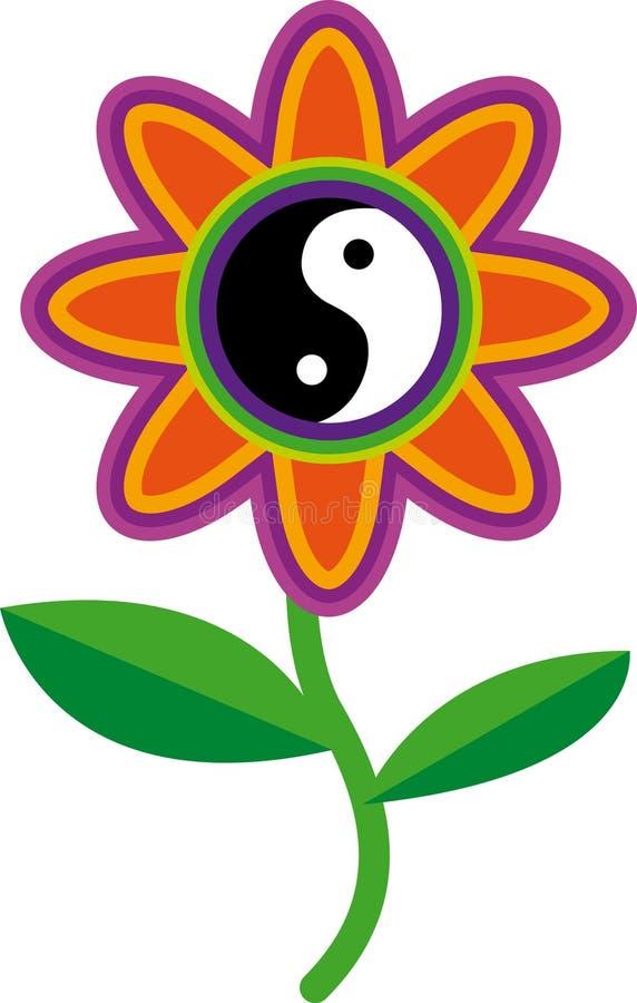 Raíces de yang del yin de la flor ilustración del vector