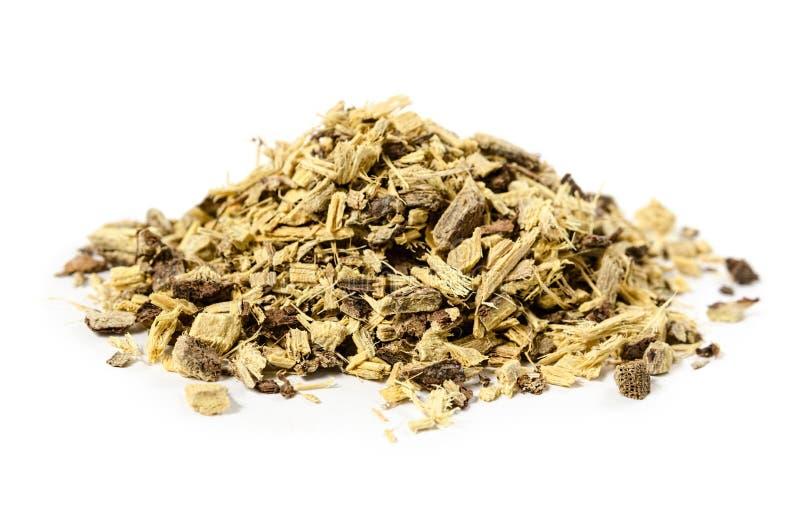 Raíz del regaliz o de regaliz también usada para el té aislado imagen de archivo