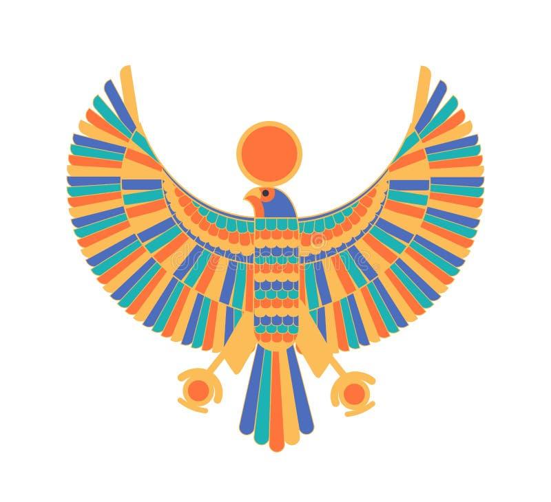 Ra - deus, criador, deidade ou criatura mitológica descritos como o falcão e o disco do sol Caráter legendário de antigo ilustração do vetor