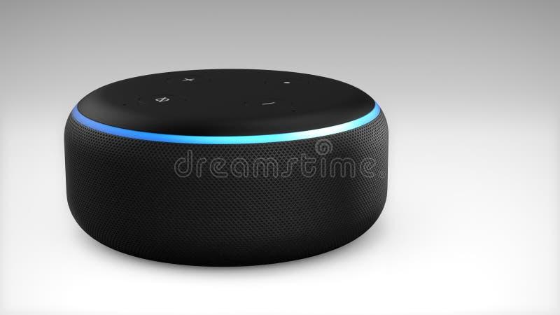 3ra generación del Amazonas Alexa Echo Dot ilustración del vector