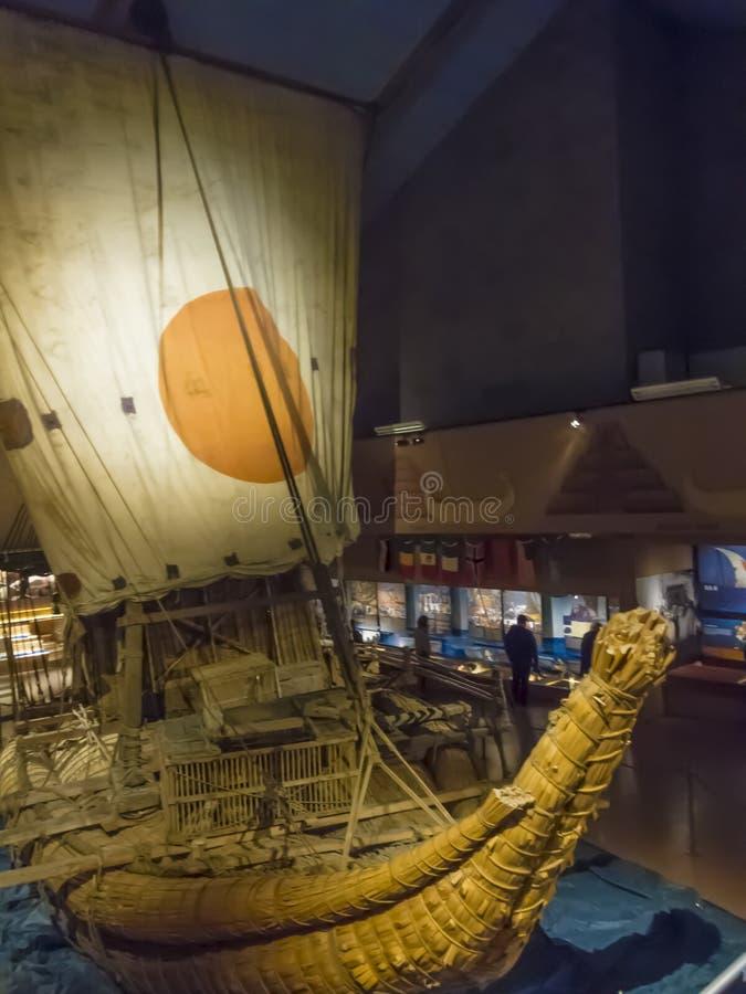 Ra II. Thor Heyerdahl sailed this totora-reed boat across the atlantic in 1970 stock photo