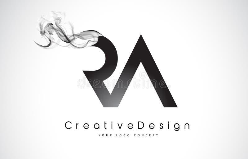 RA Letter Logo Design met Zwarte Rook vector illustratie