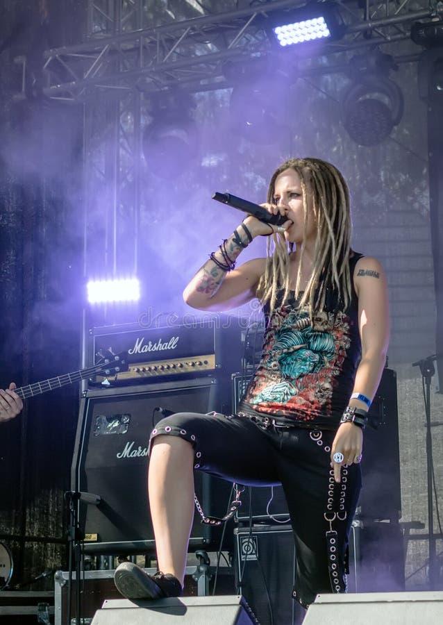 Ra Lisenko, chanteur voyant de  de MÄ de Ra letton de  de la bande métallique MÄ images libres de droits