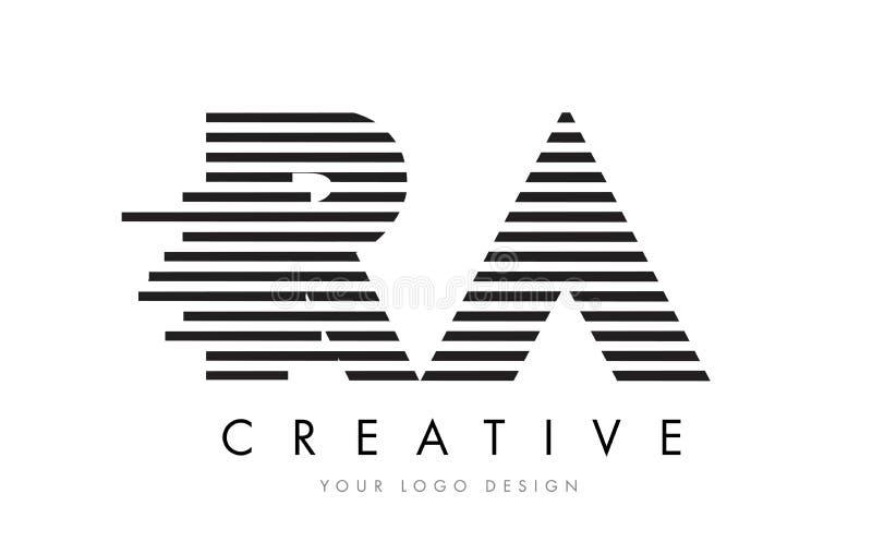 RA R Q Zebra Letter Logo Design with Black and White Stripes royalty free illustration