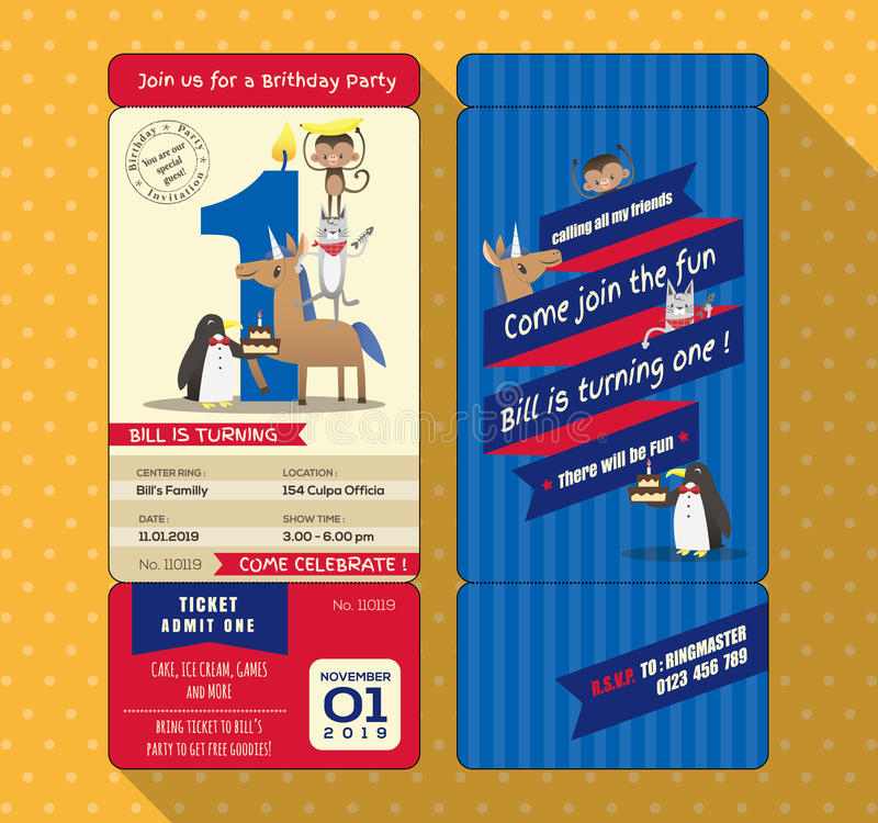 1ra tarjeta de cumpleaños con estilo del documento de embarque del boleto libre illustration