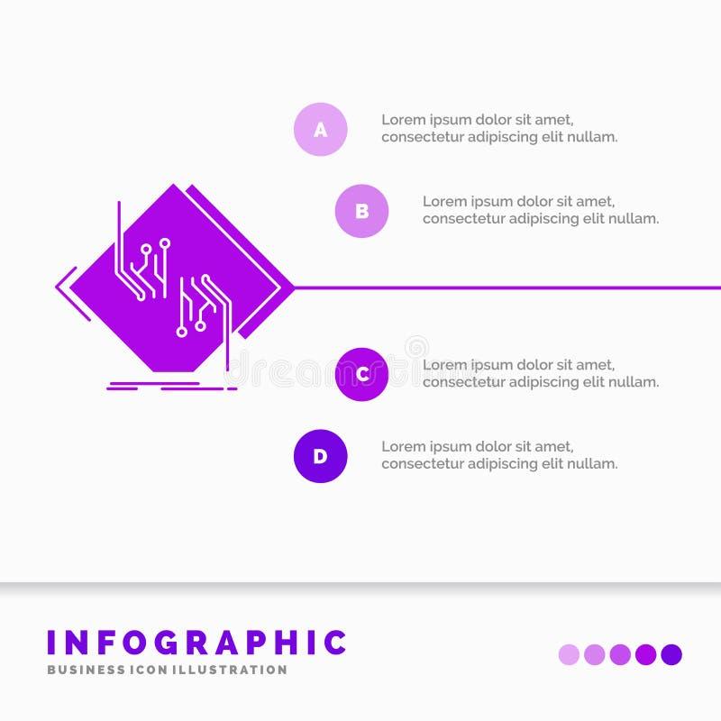 Raad, spaander, kring, netwerk, elektronisch Infographics-Malplaatje voor Website en Presentatie Infographic stijl van het GLyph  royalty-vrije illustratie
